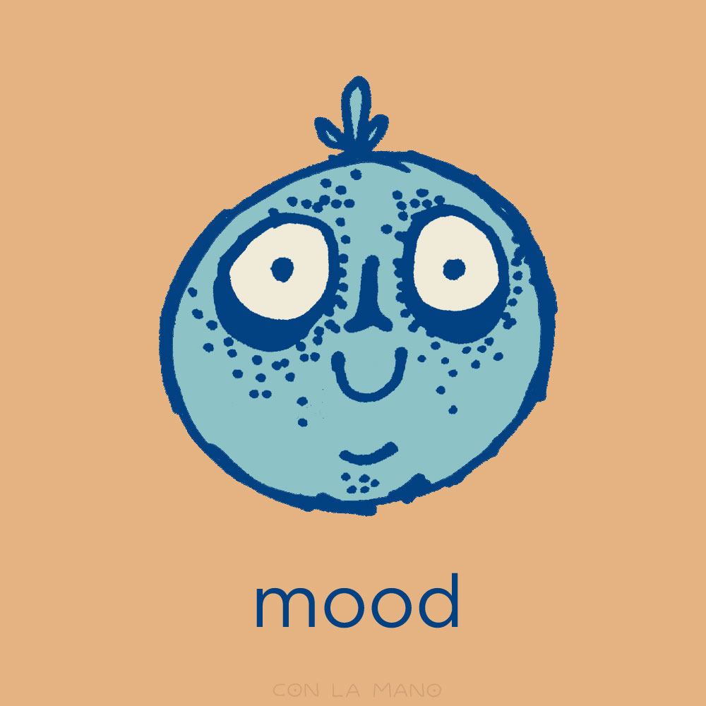 ZOMBIE MOOD  emoji/ excited, happy, future, zombie, blue, cutesy, big eyes, silly.