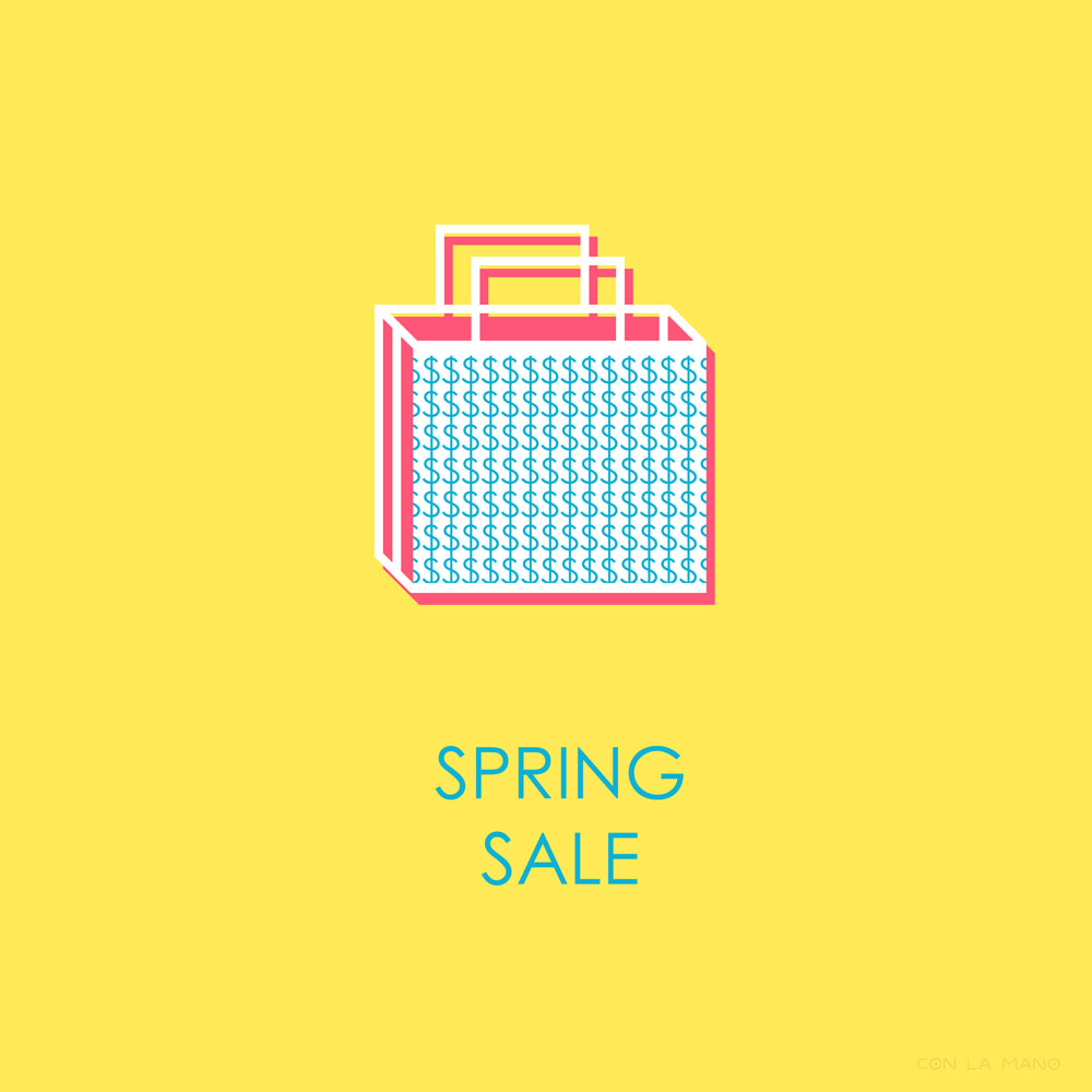 SPRING SALE  business/ yellow, bright, sale, shopping, minimal, simple, bag.