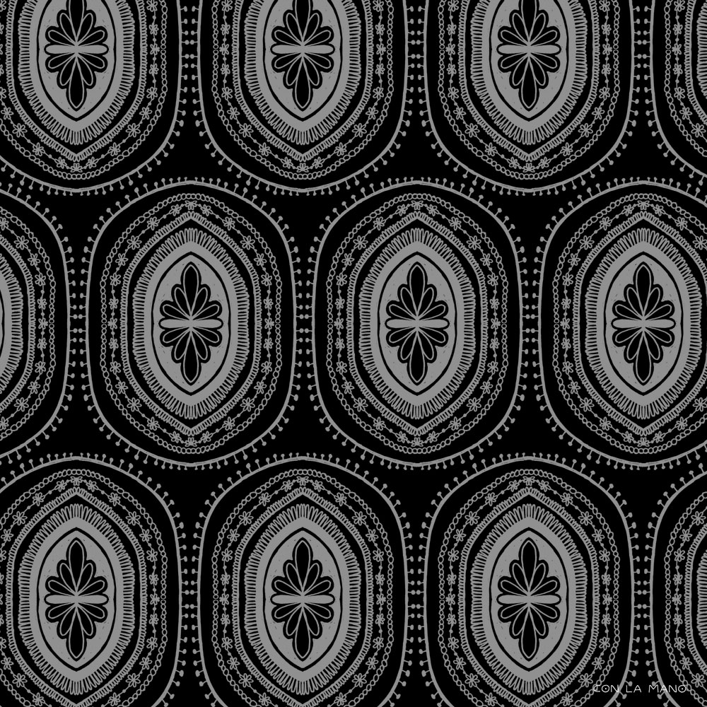 BLESSINGS  pattern/ black and white, repeat, star, rug, design, bw, mood, sarape.