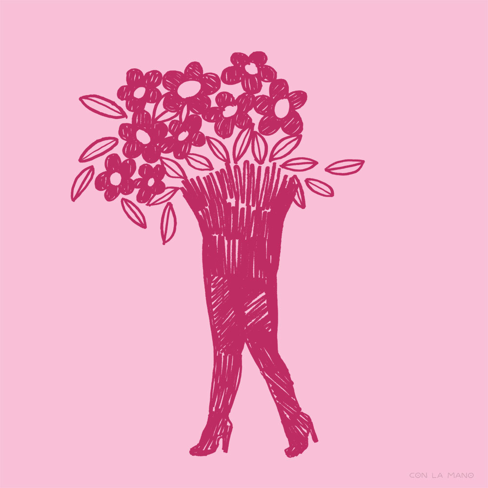 FEMME POWER  mood/ legs, flowers, pink, feminine, scribble, doodle, girl, lady, feeling.