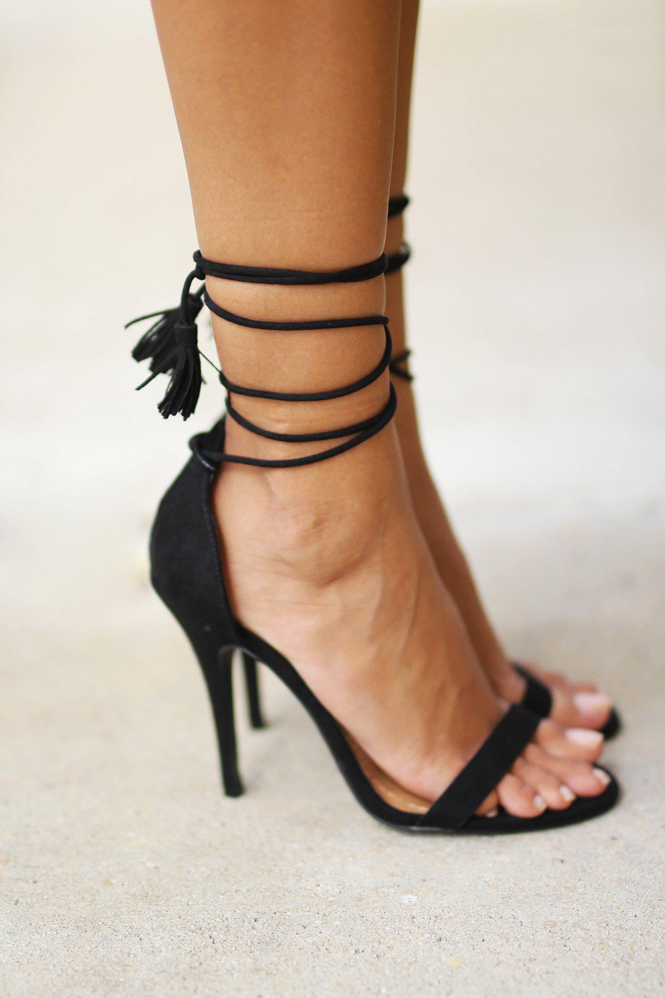 Tassel Black Lace Up Heels- $31