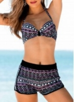 Geometric Print Halter Swimwear Bra- $24.20
