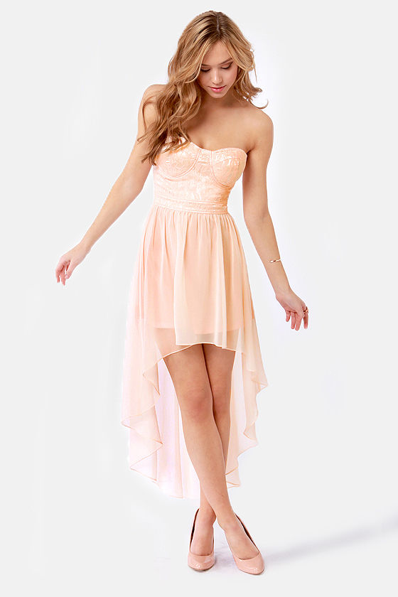 High-Low Profile Peach Dress- $56