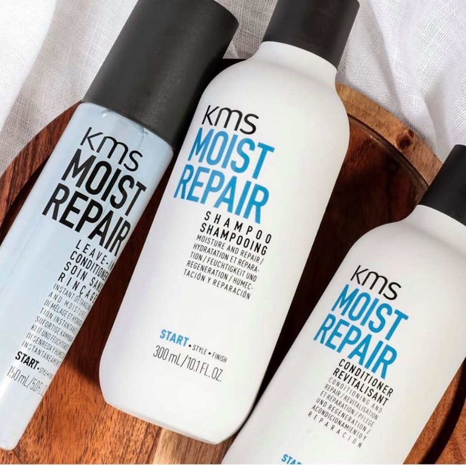 KMS Moist Repair is a replenishing, moisturising range that repairs damage whilst helping to restore the hairs natural protective coating.