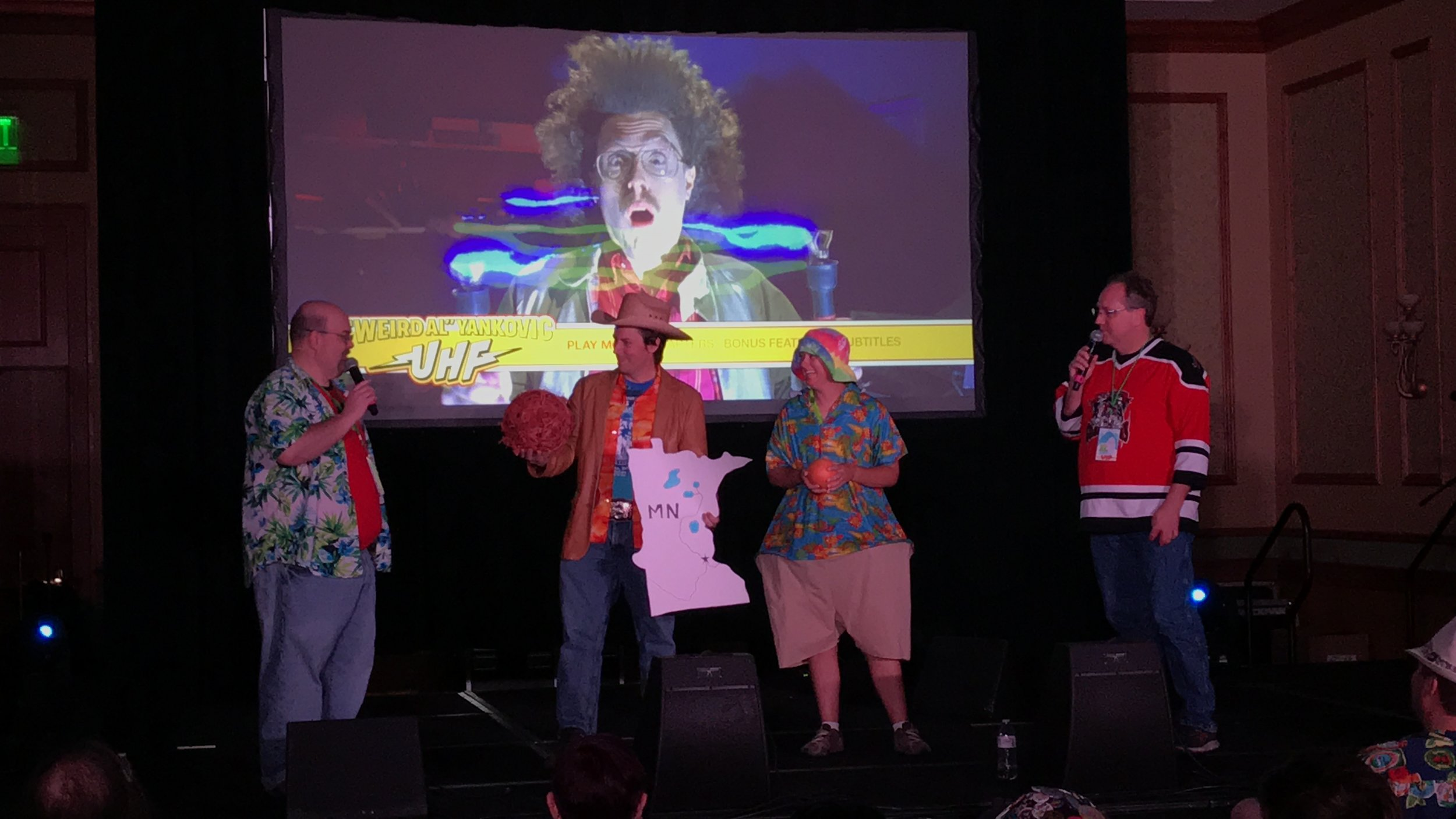 Weird Al Costume Contest participants with Rick and Alf