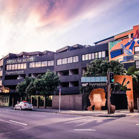 QT MUSEUM HOTEL $$$   Just refurbished and hosting New Zealand's largest private art collection; one of Wellington's top hotels.  Rooms from $278 per night.  550m from the Michael Fowler Centre.