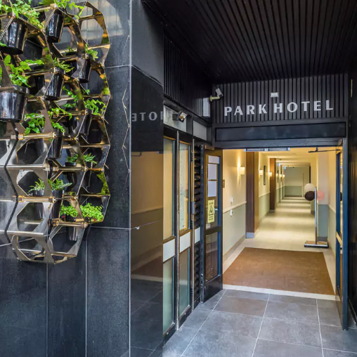 PARK HOTEL $$   Clean, well-designed rooms and apartments in a great location, and with great views!  Rooms from $170 per night.  1.1km from the Michael Fowler Centre.