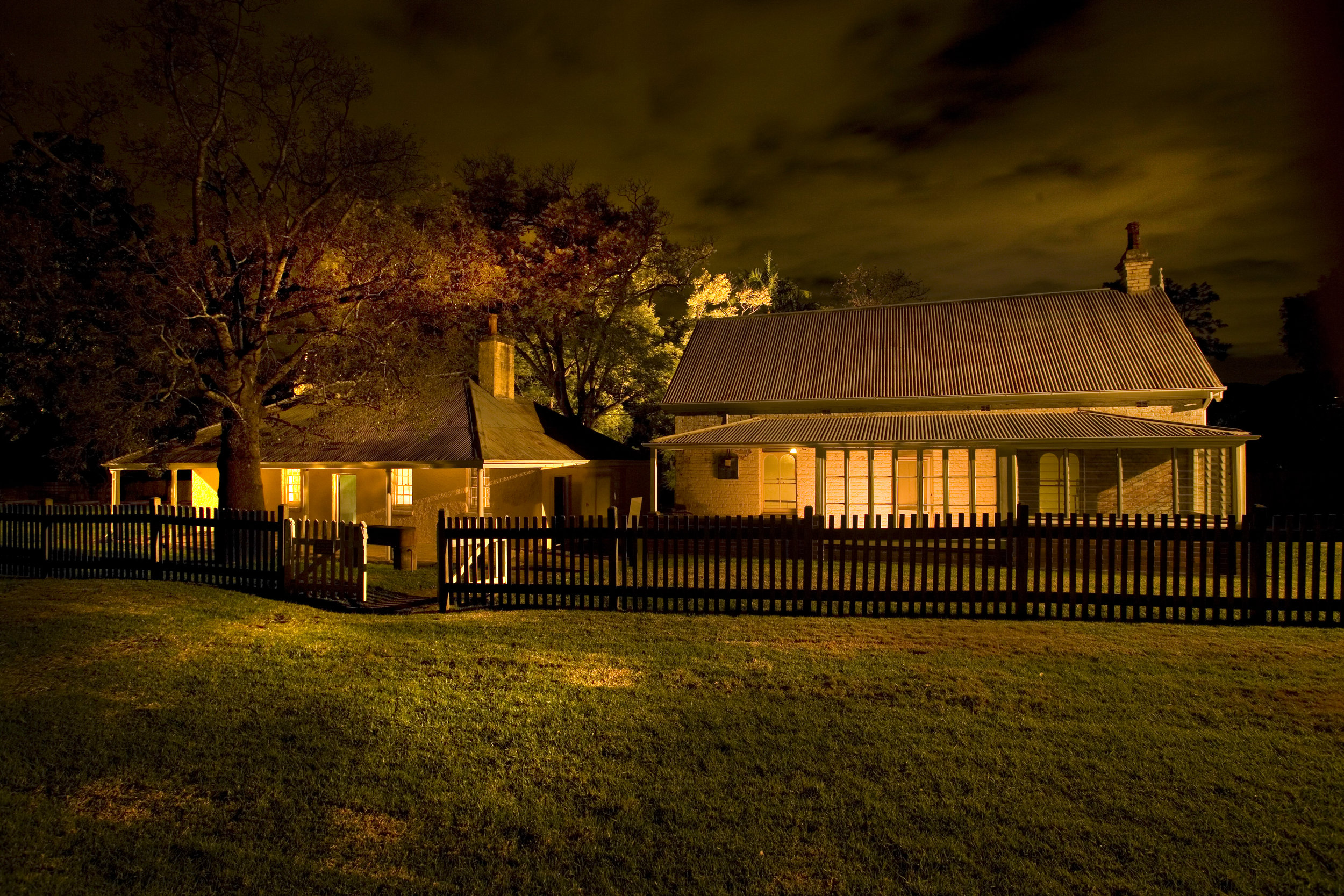 The Dairy and Rangers Cottages at night.jpg