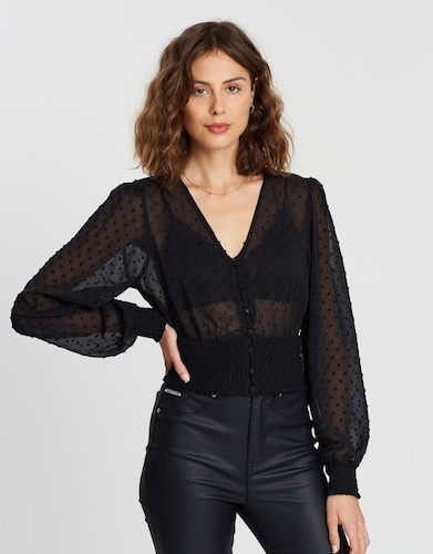 ATMOS&HERE Shirred Waisted Top, $59.95