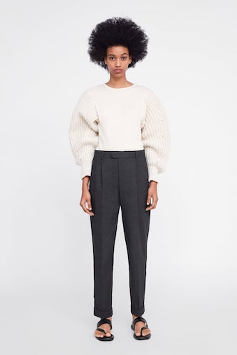 ZARA Chunky Knit Contrasting Sweatshirt, $49.95