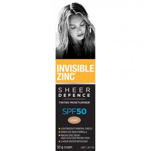 INVISIBLE ZINC Sheer Defence Tinted Moisturiser SPF 50, $34