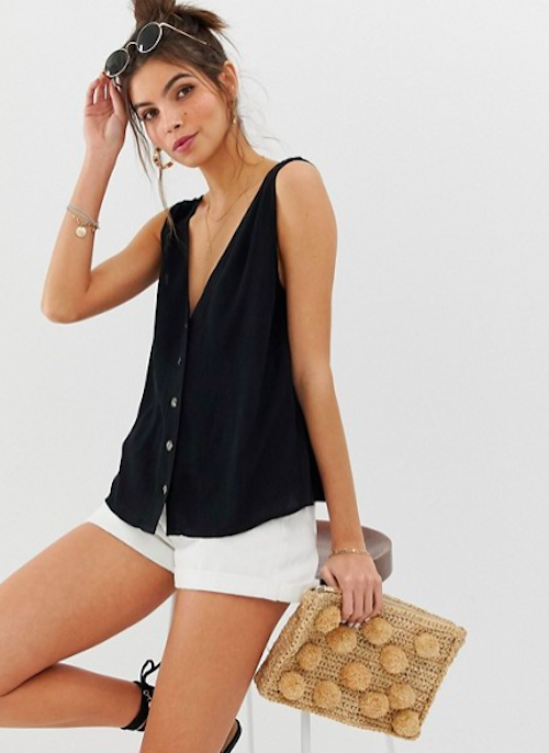 ASOS, Button through singlet in crinkle,  $36