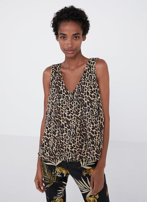 Zara, Animal print top, $49.95