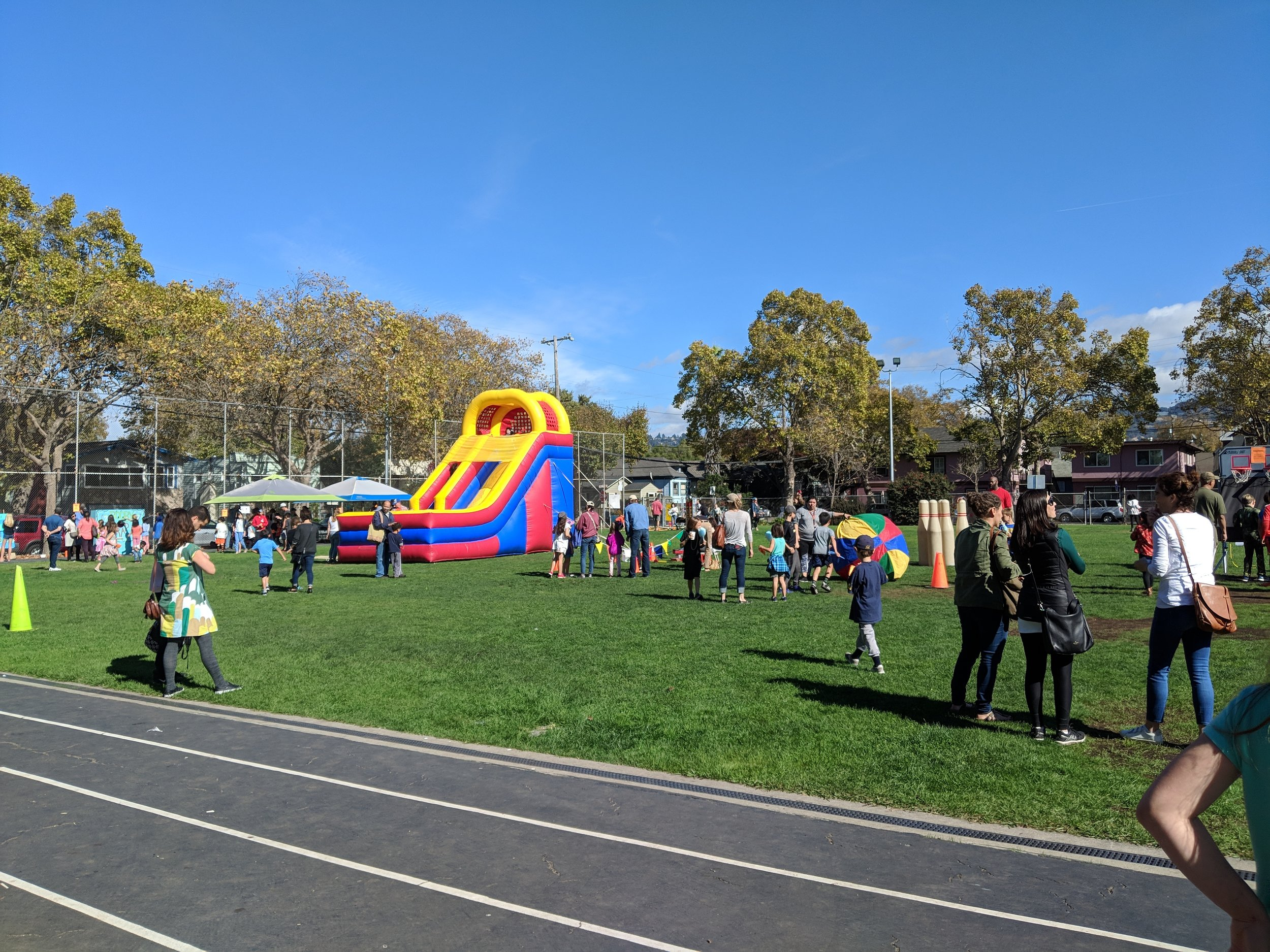 The Carnival is held on the Rosa Parks Field and the food service is in the cafeteria.