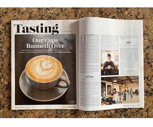 Thanks for the mention in last month's Tasting segment @newmexicomag. Words by @mariamanuela. ☕️