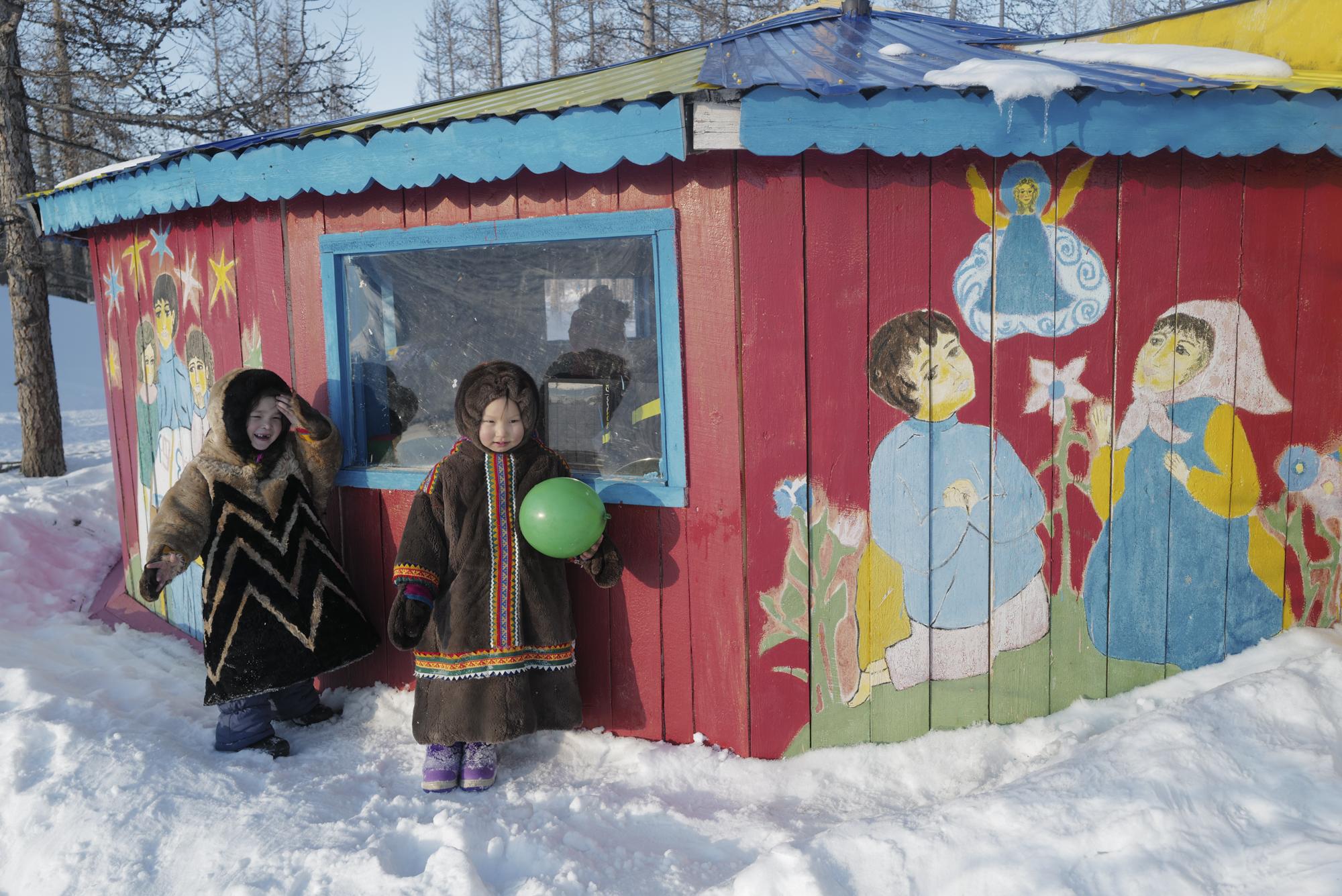 Nenets school children playing outside their classroom.  ©  Rosalynn Tay.