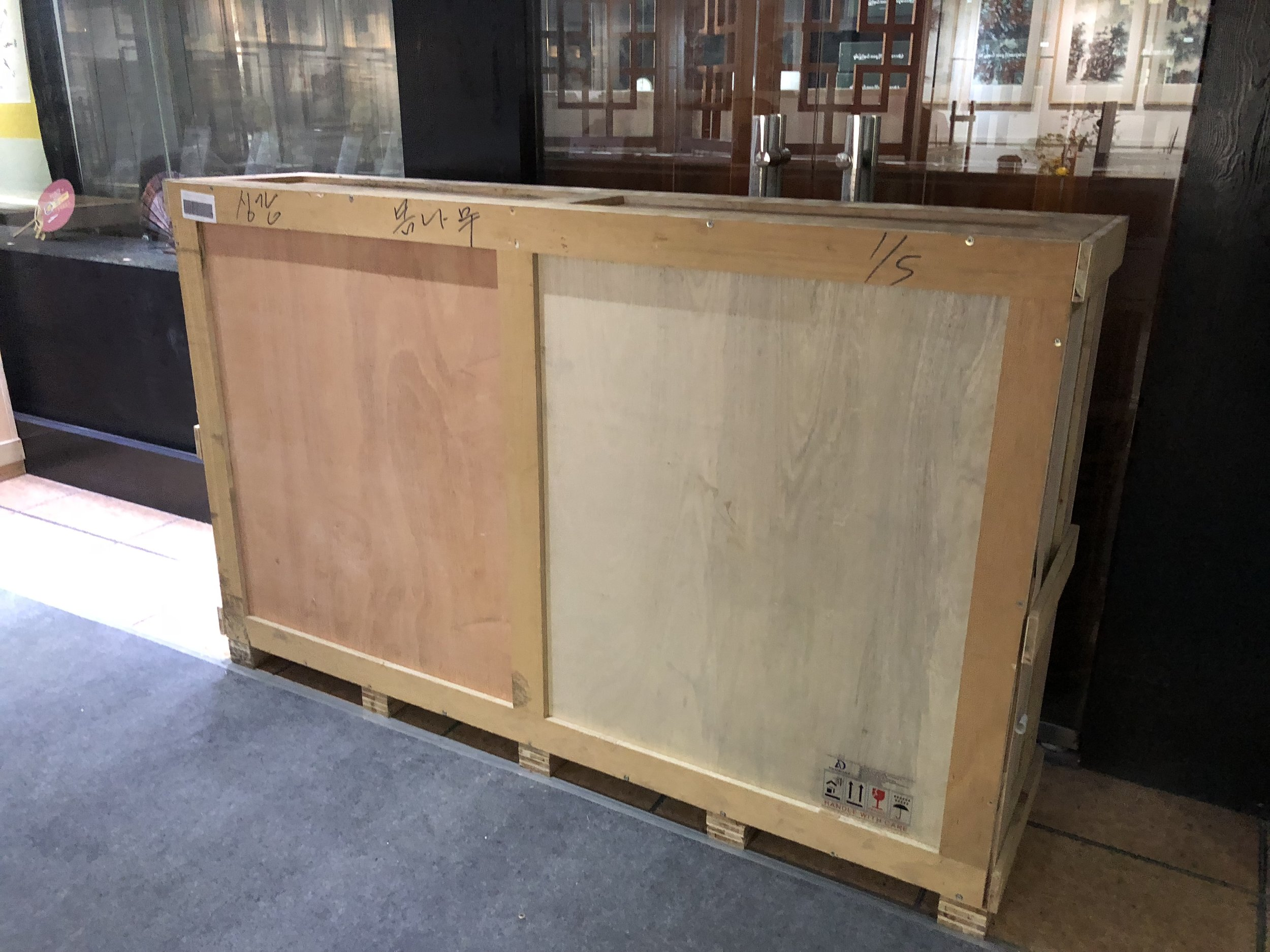 One of the crate! We were glad that all of the works arrived without any damages.