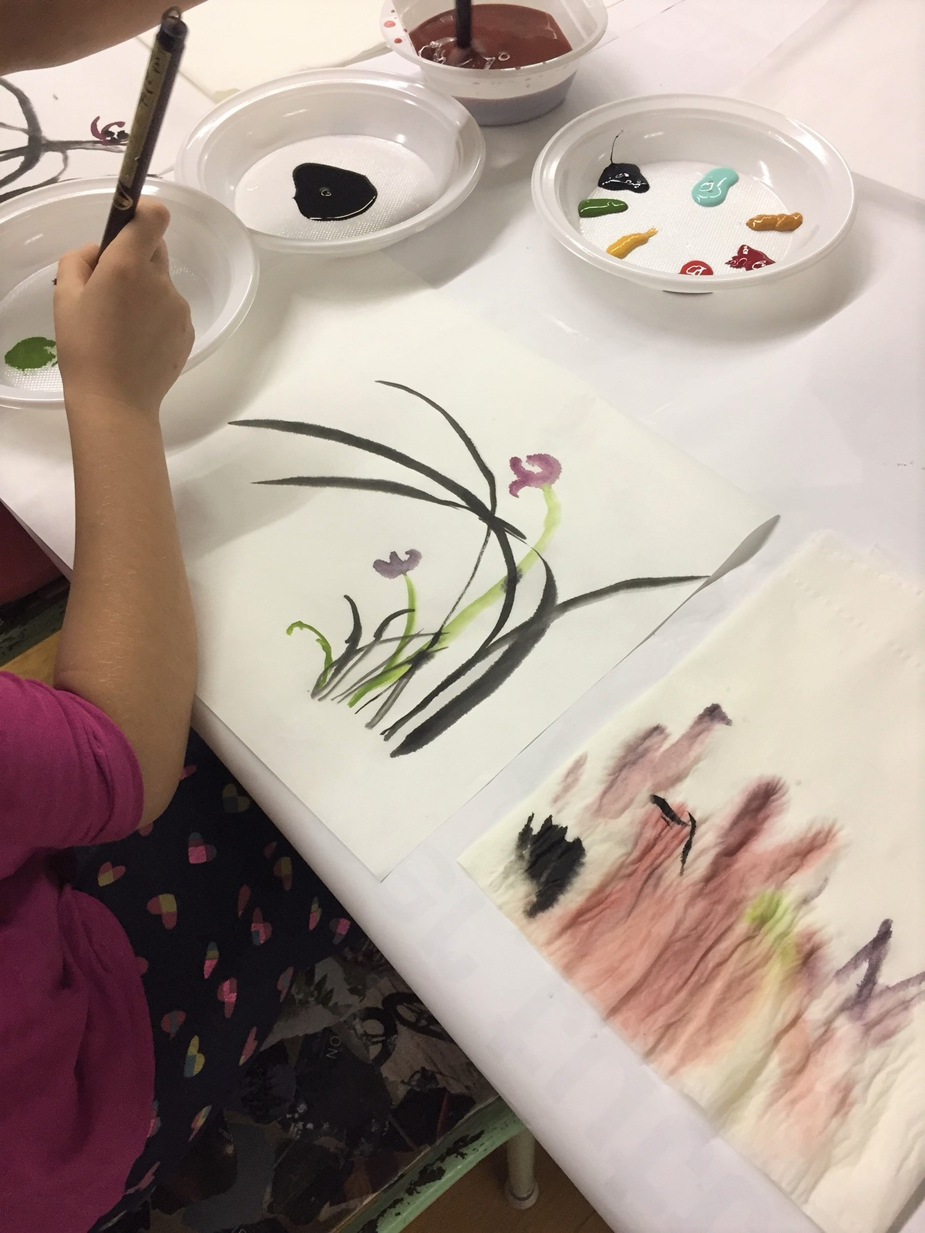 It was amazing to see how they can quickly and creatively paint using new materials.
