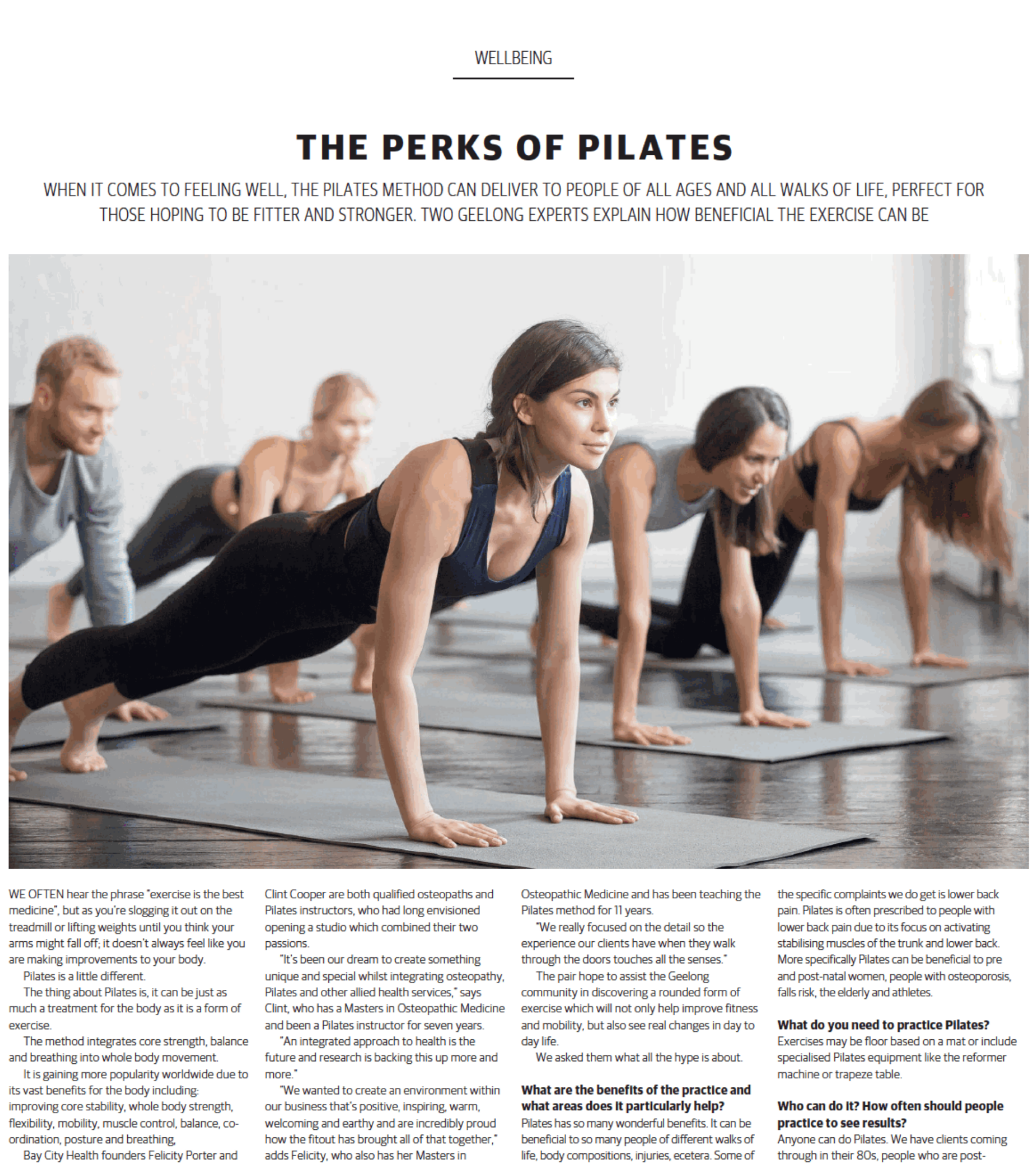 Geelong Times Magazine article - Perks of Pilates Bay City Health