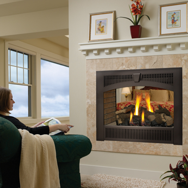 Lopi 864 See-Thru gas fireplace available at Ferguson's Fireplace & Stove Center.