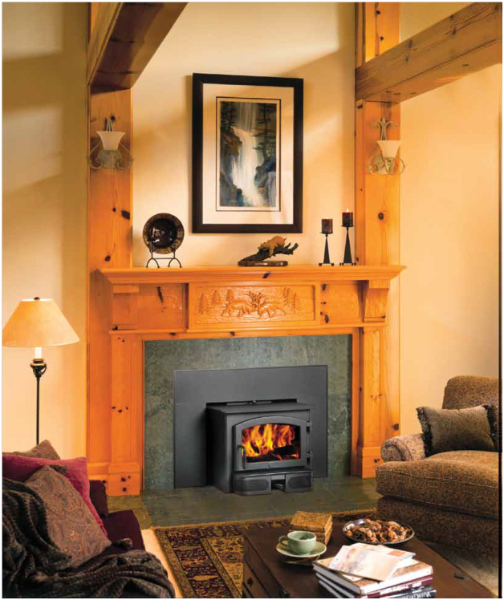 The Lopi Republic 1750 wood insert is available at Ferguson's Fireplace & Stove Center.