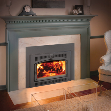 The Lopi Small Flush Hybrid Fyre wood insert is available at Ferguson's Fireplace & Stove Center.