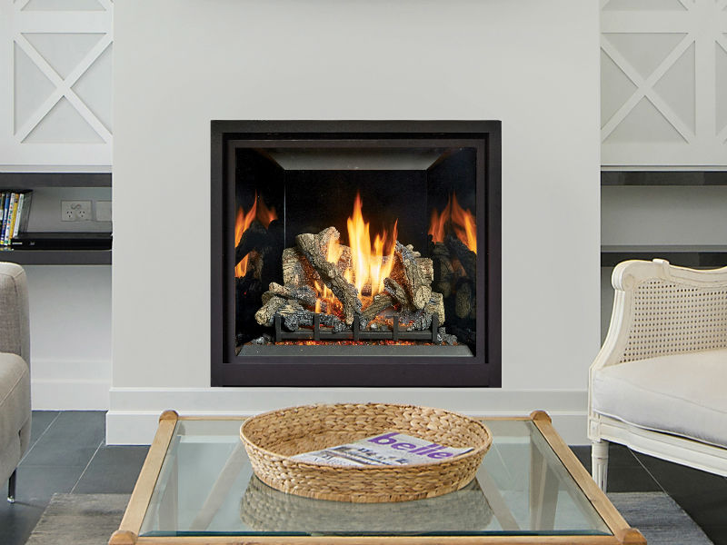 Fireplace Xtrordinair's See-Thru gas fireplace, available at Ferguson's Fireplace & Stove Center in Traverse City, Michigan.
