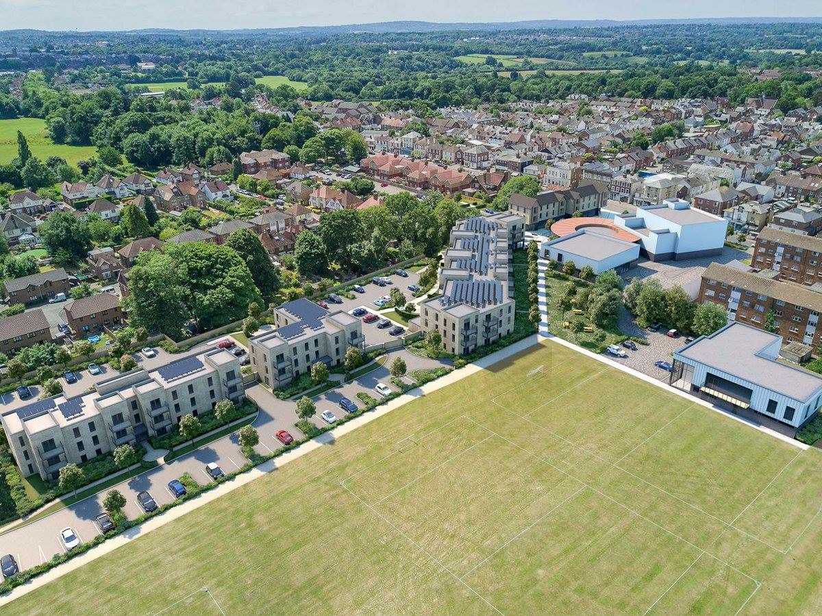 View from the Ridgewaye fields towards the Crest Nicholson housing and the Hub site facing London Road.