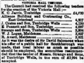 Tendering for contracts to build the theatre from the Courier, 1898.