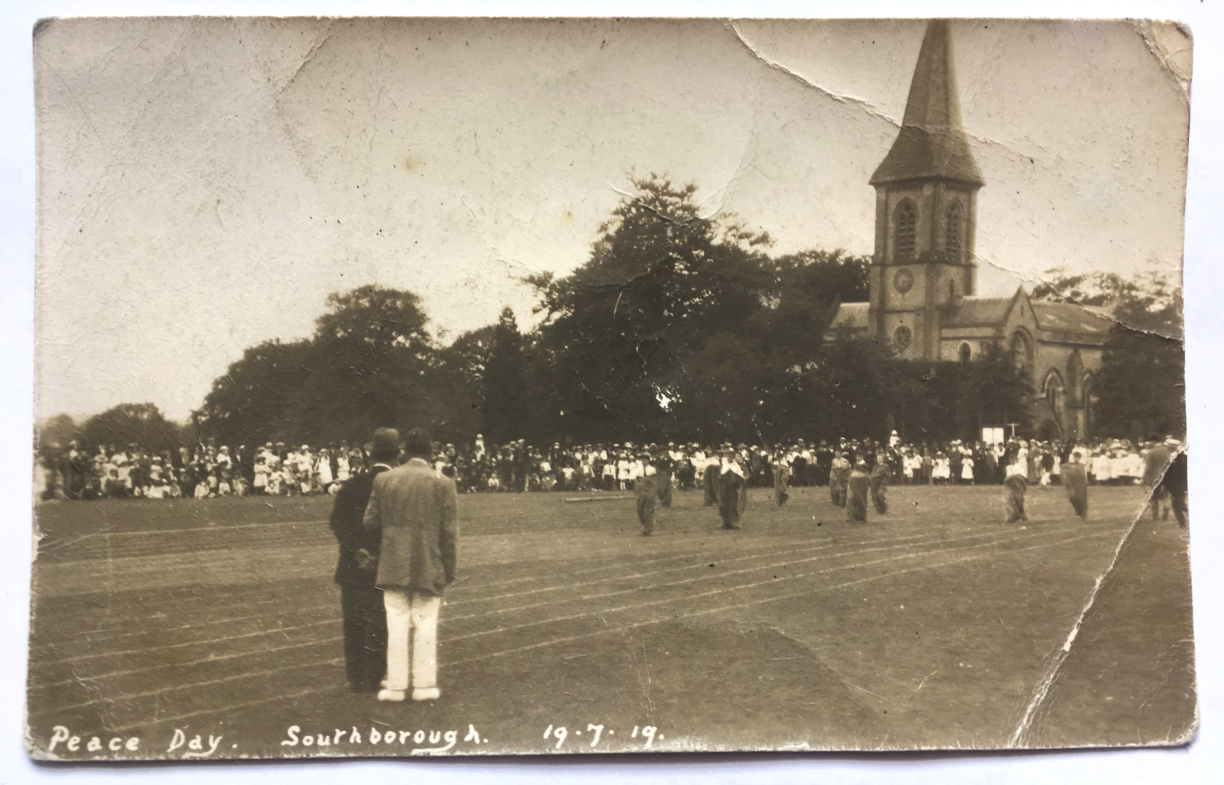 Sack race in front of St Peter's Church on the Common.