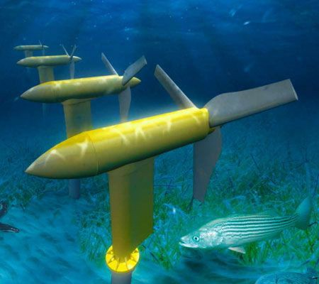 Rendering of underwater turbines
