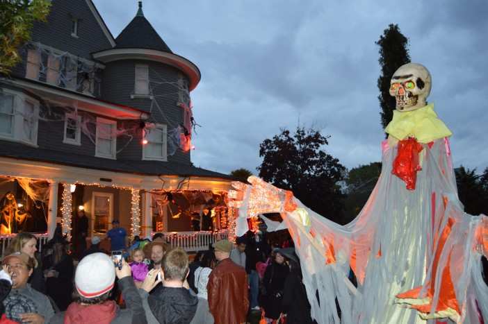 Crowd forming before a Halloween parade in Prospect Park South.
