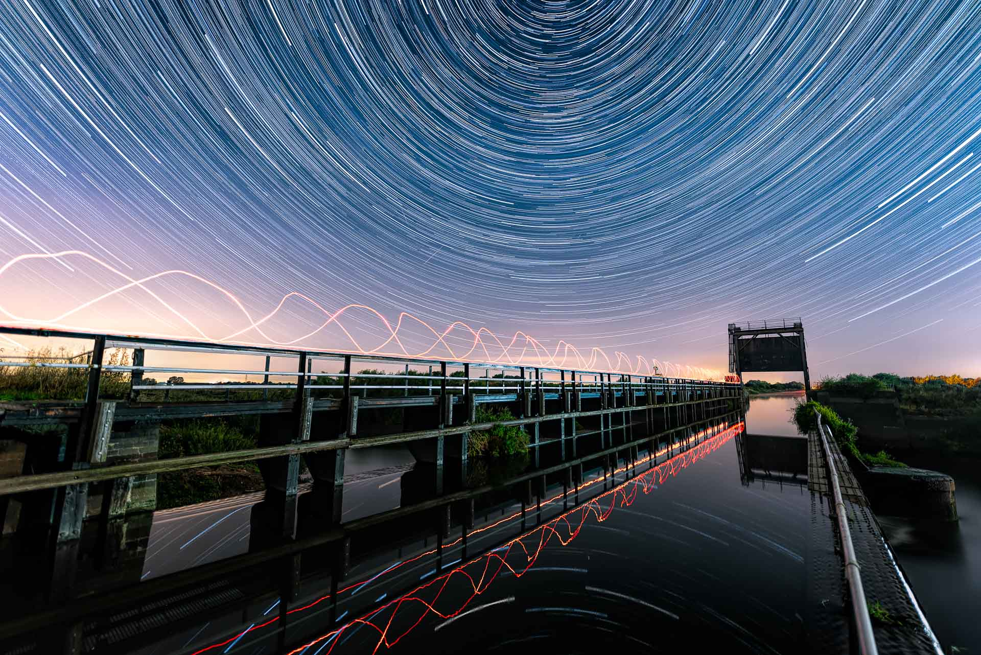 Jonathan Lodge  Star Trails over the Aqueduct