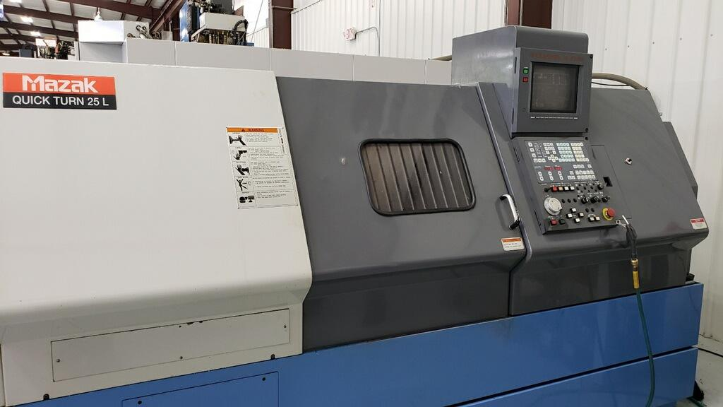 """1998 QT-25L - Great running 1998 Mazak QT-25L w/Mazatrol T-Plus Control. This machine came out of an aerospace facility in South GA. Notorious for taking care of their machines. This machine features:Mazatrol T-Plus Control / 12"""" Monochrome CRT / Conversational Programming with Graphic Display / Chip Conveyor – Side Discharge / 10"""" Kitagawa Chuck B210 / Programmable Tool Eye / Programmable Tailstock / All Available ManualsRequest a quote 1998 QT-25L"""