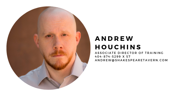 Andrew graduated from Greensboro College in Greensboro, NC in 2001 with a Bachelor's Degree in Theatre. After graduation, he spent two years working with Rags to Riches Theatre for Young Audiences in Durham, NC, where he acted as tour manager and performer. He moved to Atlanta and became a member of the 2005-2006 Apprentice Company with the Atlanta Shakespeare Company. He helped direct the inaugural Shakespeare Intensive for Teens program in the summer of 2006, and became an Artistic Associate that same season.    Andrew's acting roles with the Atlanta Shakespeare Company include Macbeth in  Macbeth , Iago in  Othello , Benedick in  Much Ado About Nothing , Mercutio in  Romeo and Juliet , and Orsino in  Twelfth Night . Andrew's ASC directing credits include  The Comedy of Errors ,  Our Town ,  The Complete Works of William Shakespeare (Abridged) ,  A Midsummer Night's Dream ,  Romeo and Juliet ,  Double Falsehood , and  Edward III . As an Atlanta Shakespeare Company Education Artist, he acts as a text coach/teacher for the Apprentice Program, runs the Shakespeare Intensive for Teens, and has conducted or participated in numerous playshops throughout the state of Georgia.    Locally, Andrew has also worked with Theatrical Outfit, Aurora Theatre, the Agnes Scott Blackfriars and Theatre Decatur, as well as Unto These Hills in Cherokee, NC.
