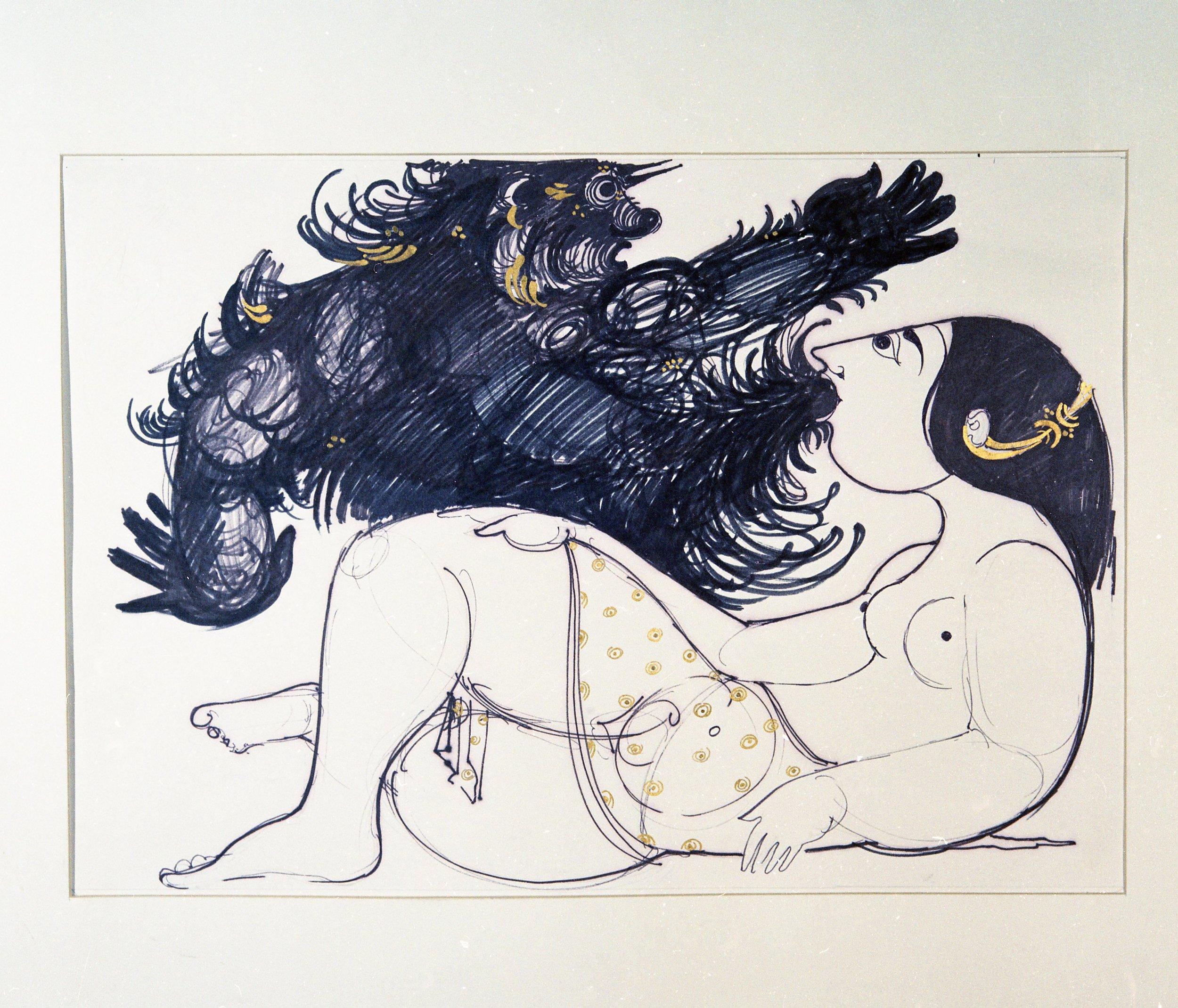 Kvinde og djin (ånd) i Wiinblads illustrationer til  1001 nat  fra slutningen af 1960'erne.
