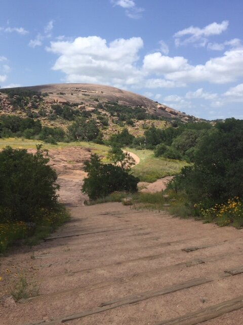 At the beginning of the walk up Enchanted Rock just outside of Austin, Texas.