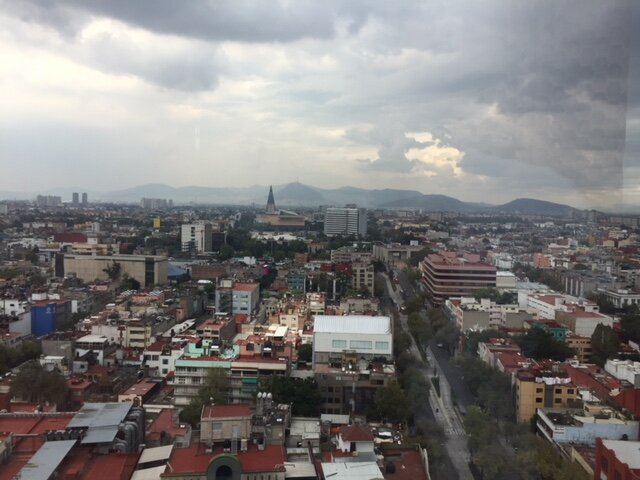 A view of Mexico City on a cloudy day on my Day of the Dead trip in November, 2018.