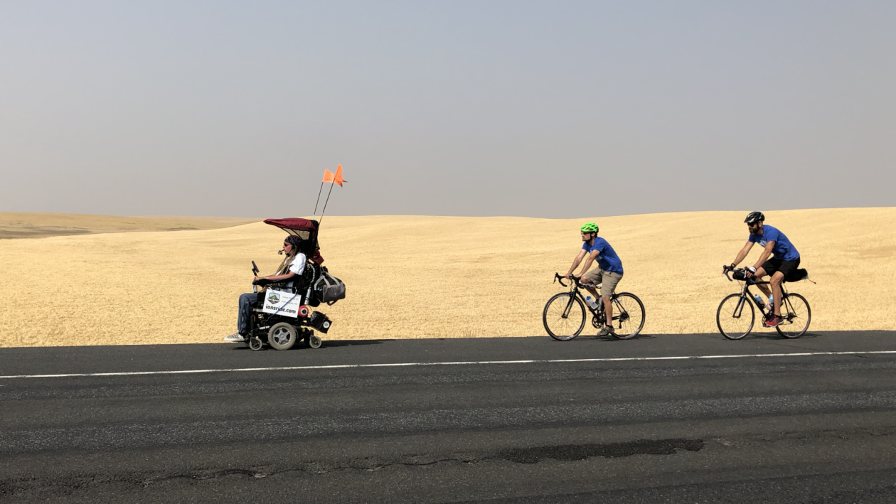 Geekwire: Quadriplegic man keeps on riding, using tech to enable 475-mile trip across state - Ian Mackay was 26 years old when a bicycle accident left him with a life-changing spinal cord injury. Ten years and nearly 10,000 wheelchair miles later, Mackay is charging ahead with life as a quadriplegic, pursuing his love of the outdoors and using technology to assist along the way.