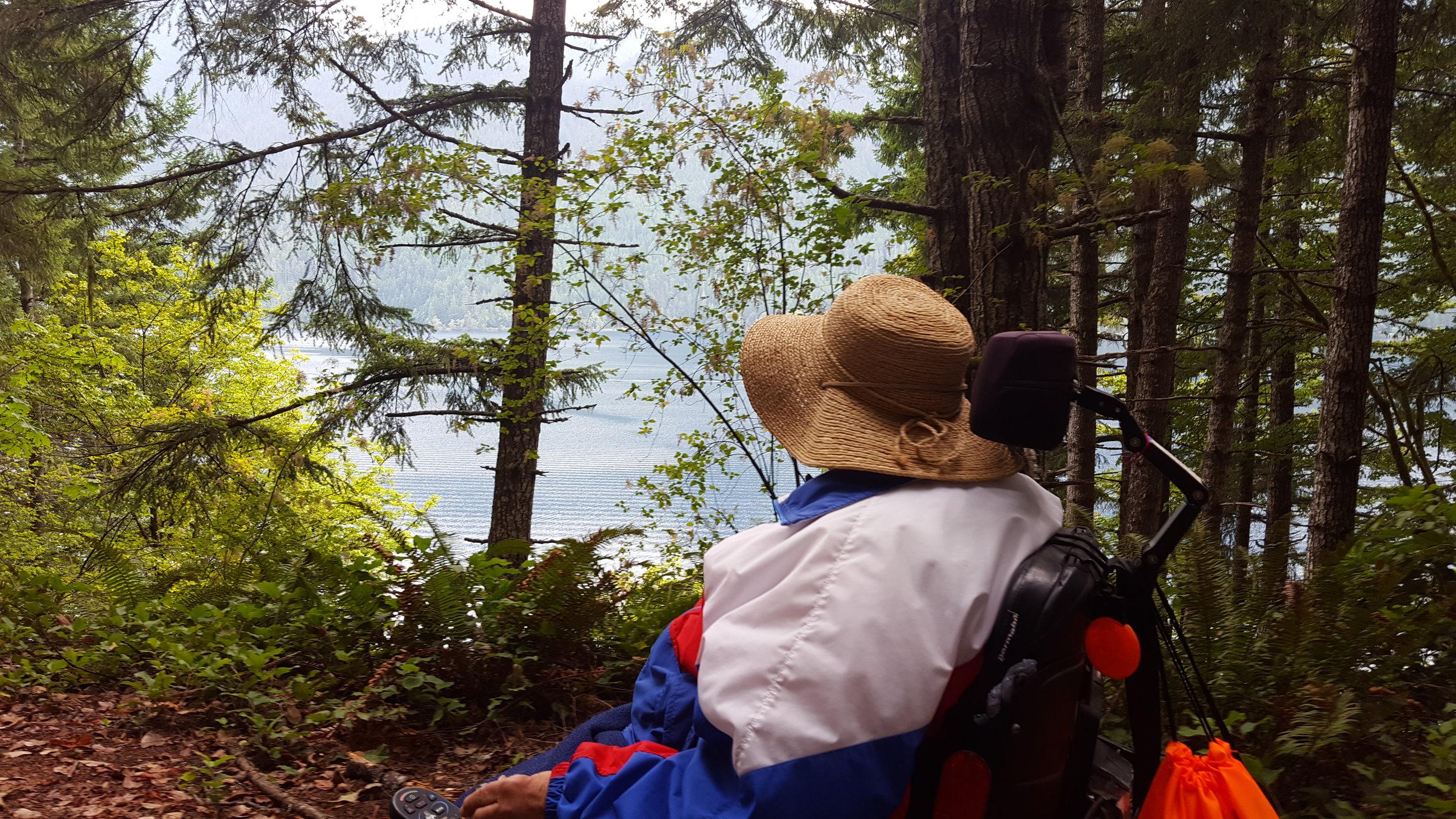 Marsha Cutting admiring Lake Crescent