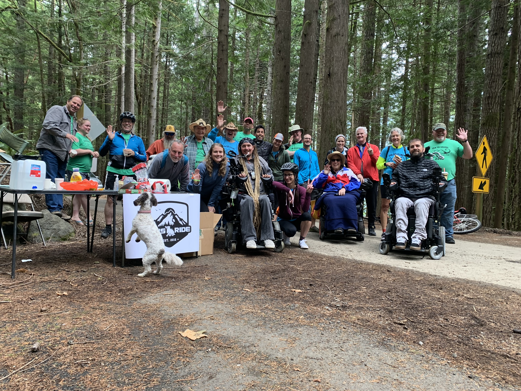 Day one finish line for wheelchairs. Next year we should be able to make it all the way around Lake Crescent!