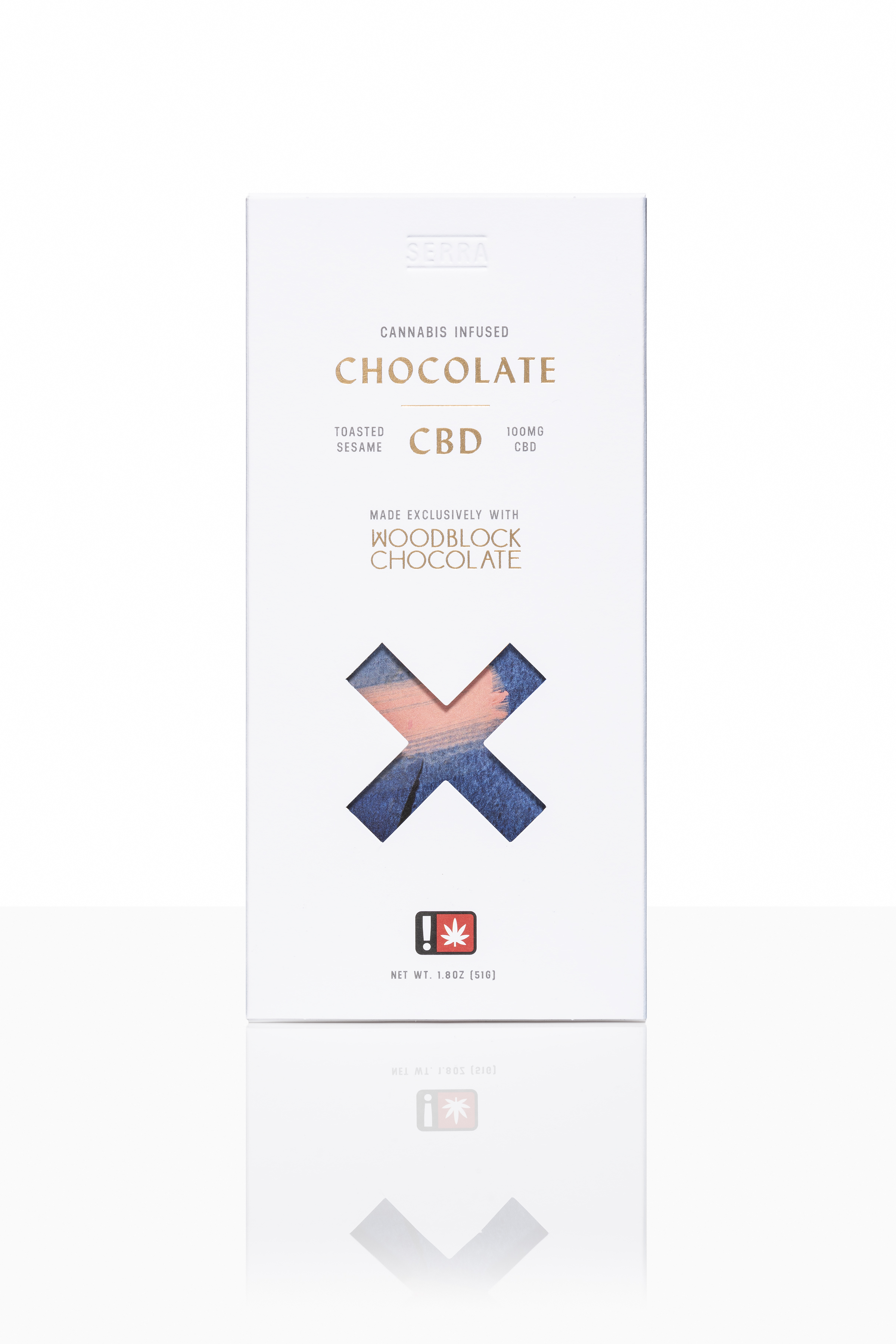 CBD Toasted Sesame - X marks Relief.Notes of cherry, coffee and lemon in our 70% dark chocolate blend of Tanzanian and Ecuadorian cacao shine through toasted sesame seed topping in this aromatic balance of sweet and savory.Vegan and Gluten-Free.100mg CBD per large bar. 10 servings per large bar.40mg CBD per small bar. 4 servings per small bar.