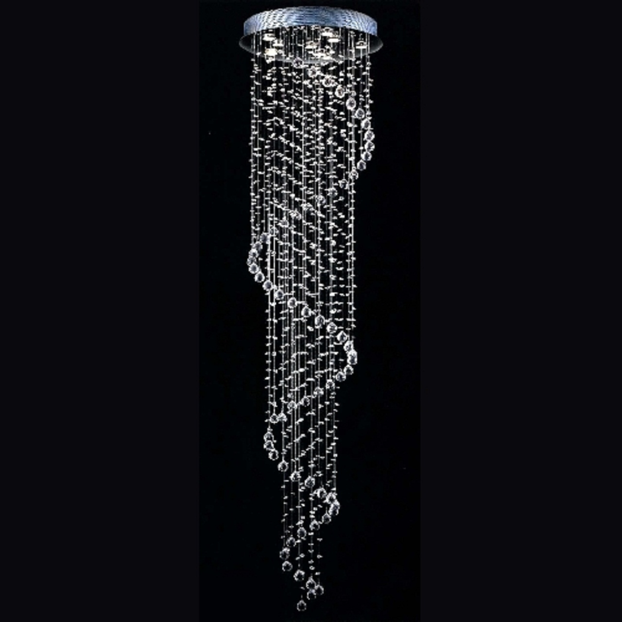 Modern Rain Drop Crystal Droplet Chandelier Swirl Design Ceiling Light