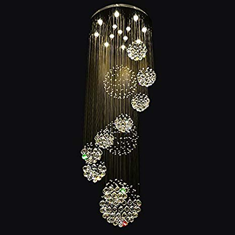 Modern Crystal Chandelier Rain Drop Spiral Staircase Lighting