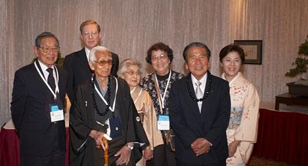 Ted Tsukiyama (left) at the 2005 World Bonsai Convention in Washington D.C. next to (left to right) Felix Laughlin, Saburo Kato, Yaoi Kato, Fuku Tsukiyama, Daizo Iwasaki and Naemi Iwasaki.
