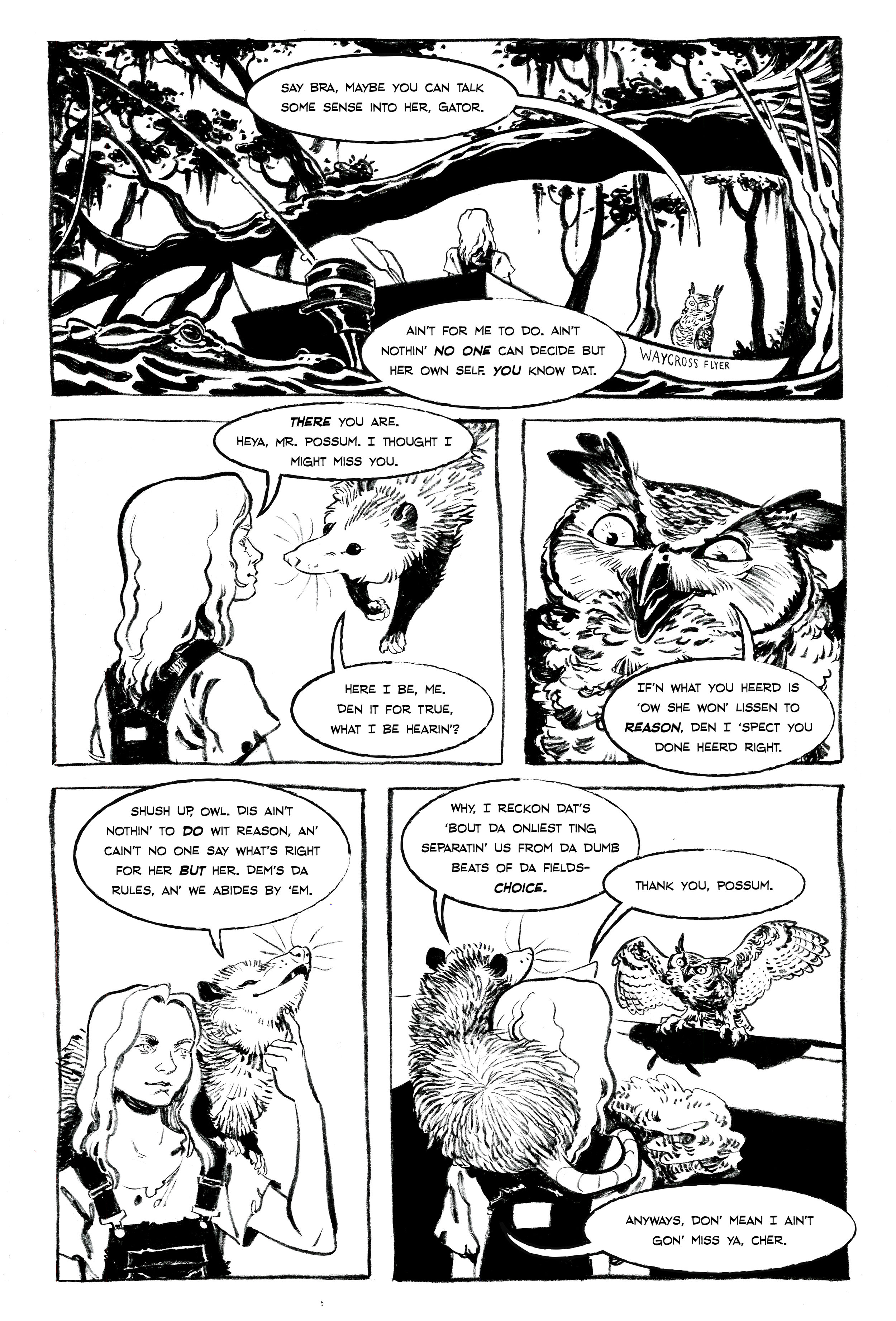 Page from   Mine! : a comics collection to benefit Planned Parenthood    Story by Caitlin Kiernan. Ink. 2017.
