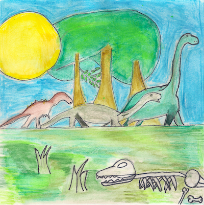 4th grade drawing of dinosaurs roaming the land.