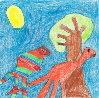 Two colorful dinosaurs drawn by a 3rd grader.