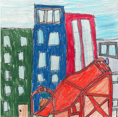 4th grade drawing of a car track in the city