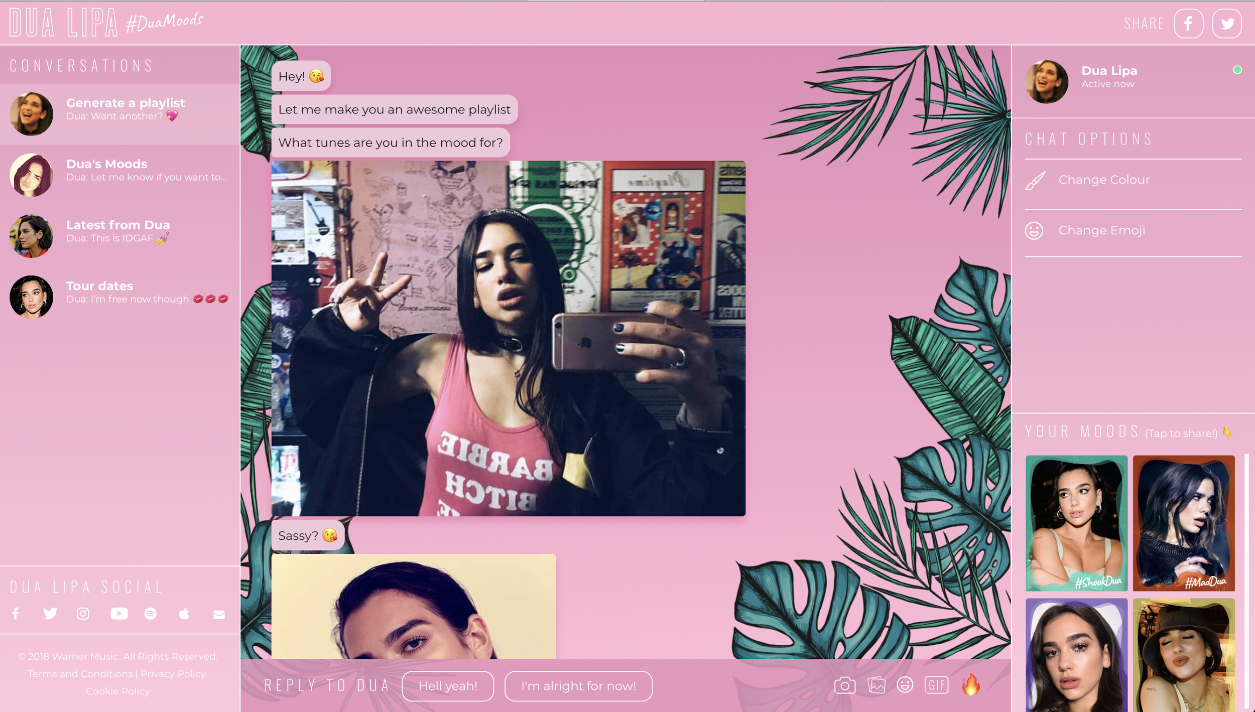 Case Study:    How to use messenger technology to the max, the Dua Lipa mood based playlist.